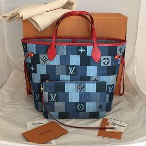 Authentic Louis Vuitton Patchwork Denim Neverfull
